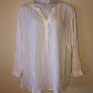 WOMAN WITHIN cream RAYON blouse- 3X - NEW!